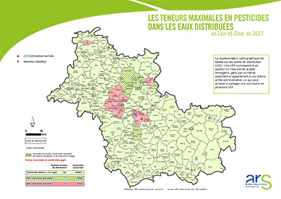 Carte régionale pesticides eaux distribuées - 2017